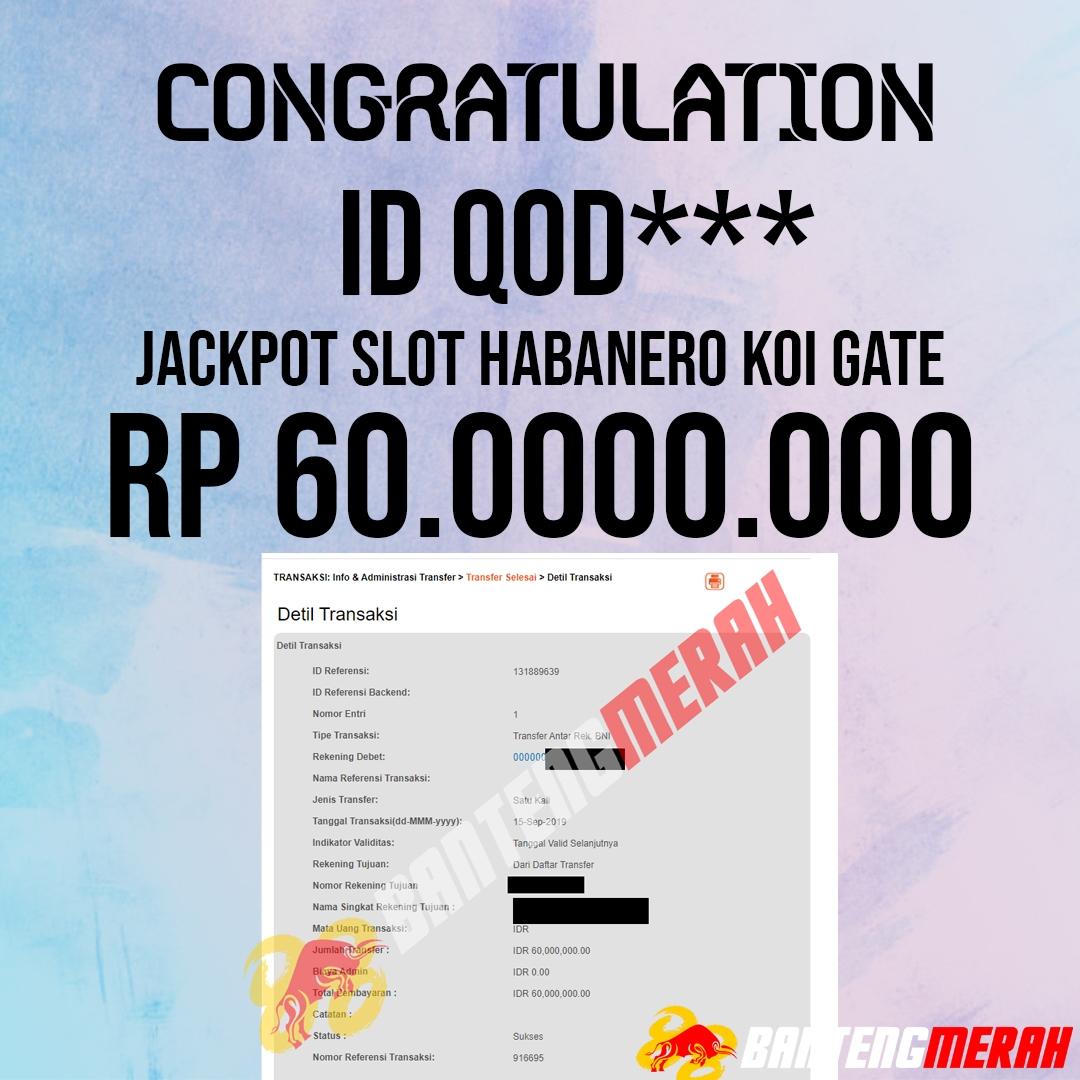 Pemenang Jackpot Slot Bantengmerah Tgl 15 September 2019