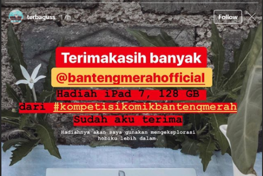 Testimoni pemenang juara 1 Kompetisi Komik Garda Terdepan Bantengmerah