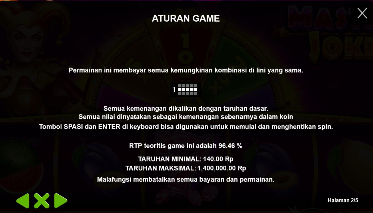Aturan Game Pragmatic Slot Master Joker - 2