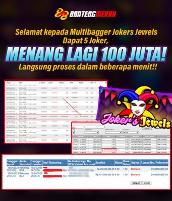 Kemenangan 100 Juta di Jokers Jewels di Bantengmerah