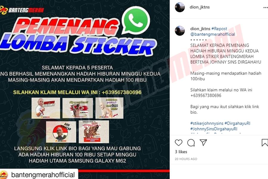 Pemenang - 10 Stiker Whatsapp HUT RI Bantengmerah