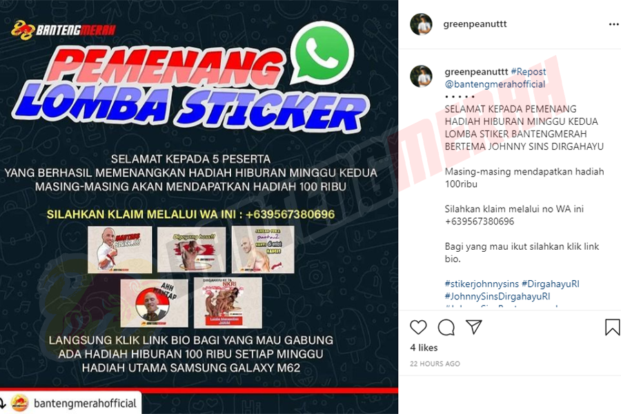 Pemenang - 11 Stiker Whatsapp HUT RI Bantengmerah