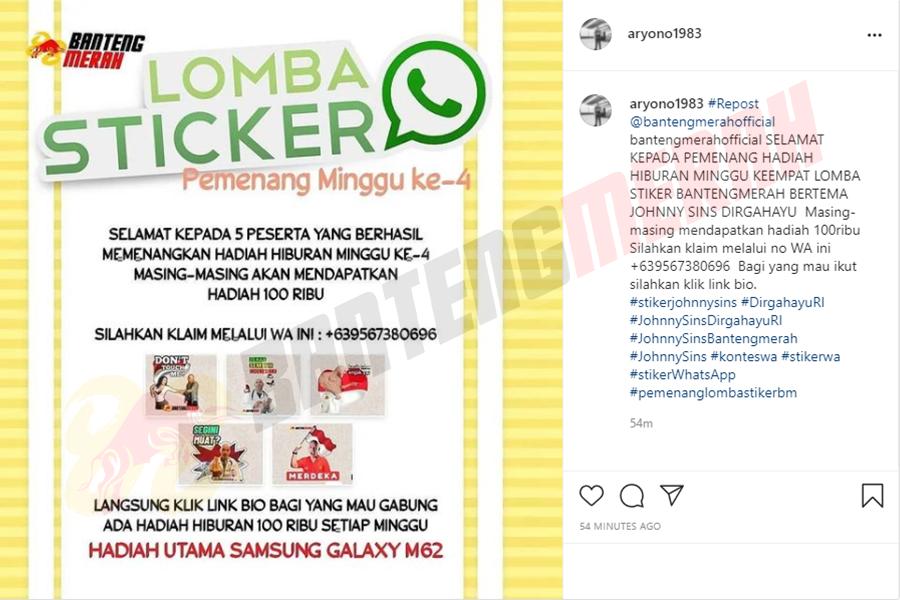 Pemenang - 3 Stiker Whatsapp HUT RI Bantengmerah